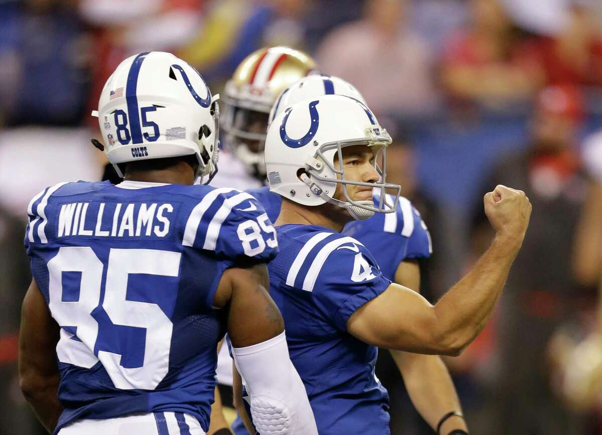 Indianapolis Colts' Adam Vinatieri (4) celebrates after booting a winning 51-yard field goal during overtime of an NFL football game against the San Francisco 49ers, Sunday, Oct. 8, 2017, in Indianapolis.