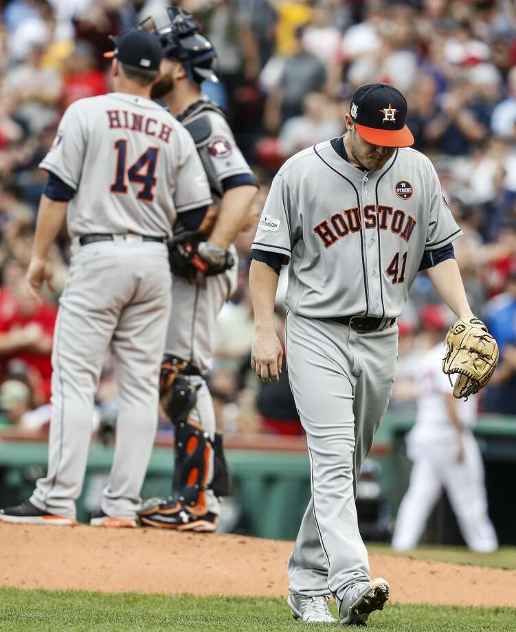 Houston Astros starter Brad Peacock walks off the field after being lifted from Game 3 of the ALDS against the Boston Red Sox at Fenway Park, Sunday, Oct. 8, 2017, in Boston .  ( Karen Warren / Houston Chronicle ) Photo: Karen Warren/Houston Chronicle