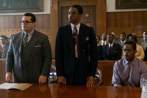 "(L-r) Josh Gad, Boseman and Sterling K. Brown in ""Marshall."" MUST CREDIT: Barry Wetcher, Open Road Films"