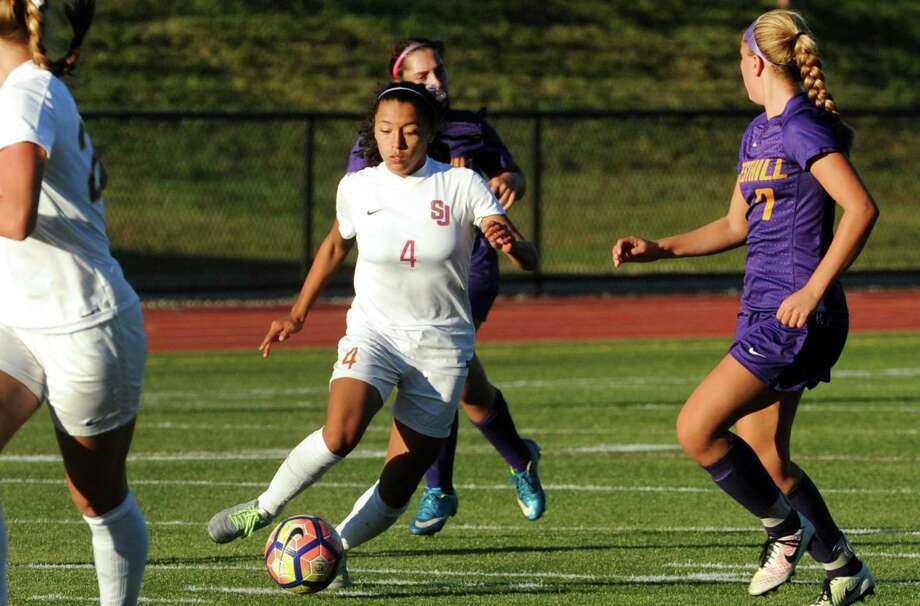 St. Joseph girls soccerThe Cadets are 9-0-1 and atop the FCIAC East Division standings with 28 points. Photo: Christian Abraham / Hearst Connecticut Media / Connecticut Post