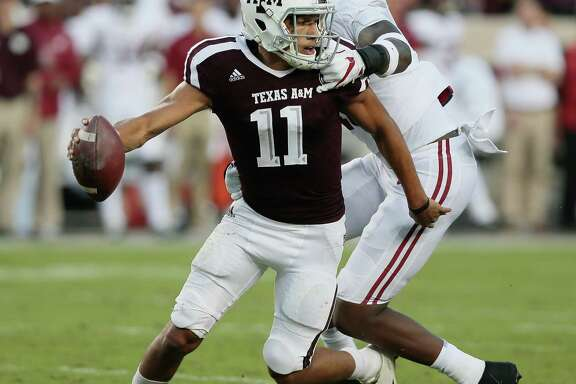 The Alabama defense had Texas A&M's Kellen Mond on the run Saturday, but the freshman quarterback channeled his inner Johnny Manziel when he had to and eluded the hard-rushing Crimson Tide on several occasions.