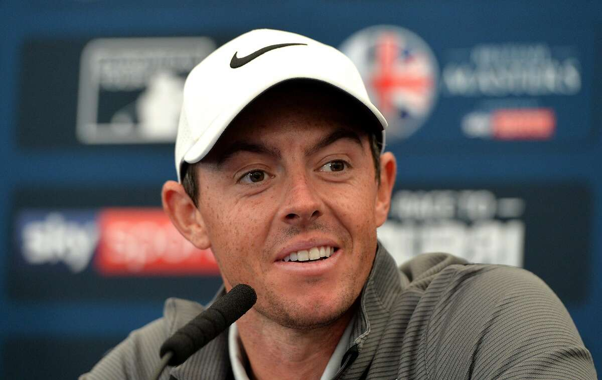 NEWCASTLE UPON TYNE, ENGLAND - SEPTEMBER 27: Rory McIlroy of Northern Ireland speaks to the media at a press conference during the British Masters previews at Close House Golf Club on September 27, 2017 in Newcastle upon Tyne, England. (Photo by Mark Runnacles/Getty Images)