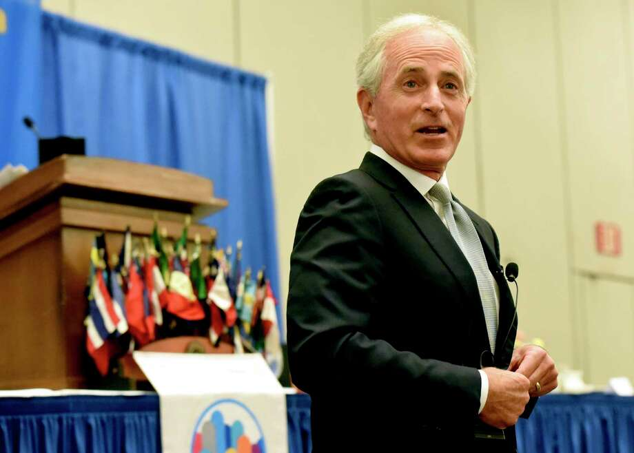 U.S. Sen. Bob Corker, R-Tenn., takes questions from attendees at the Rotary Club of Chattanooga, Thursday, Aug. 17, 2017, at the Chattanooga, Tenn., Convention Center. Corker delivered a blistering rebuke of President Donald Trump, saying he's not yet demonstrated the stability or competence that's required for an American president to succeed. (Tim Barber/Chattanooga Times Free Press via AP) Photo: Tim Barber, MBI / Chattanooga Times Free Press