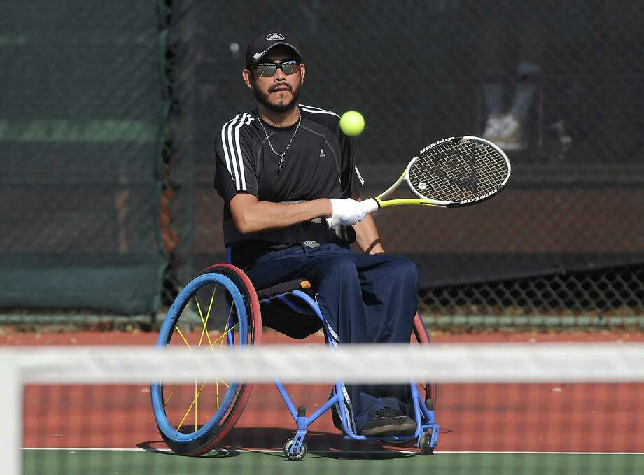 Joey Sanchez competes the consolation match of the Quad A singles during the second annual Cougar Open Wheelchair Tennis Tournament at Memorial Park Sunday Oct. 08, 2017.(Dave Rossman Photo) Photo: Dave Rossman, For The Chronicle / Dave Rossman
