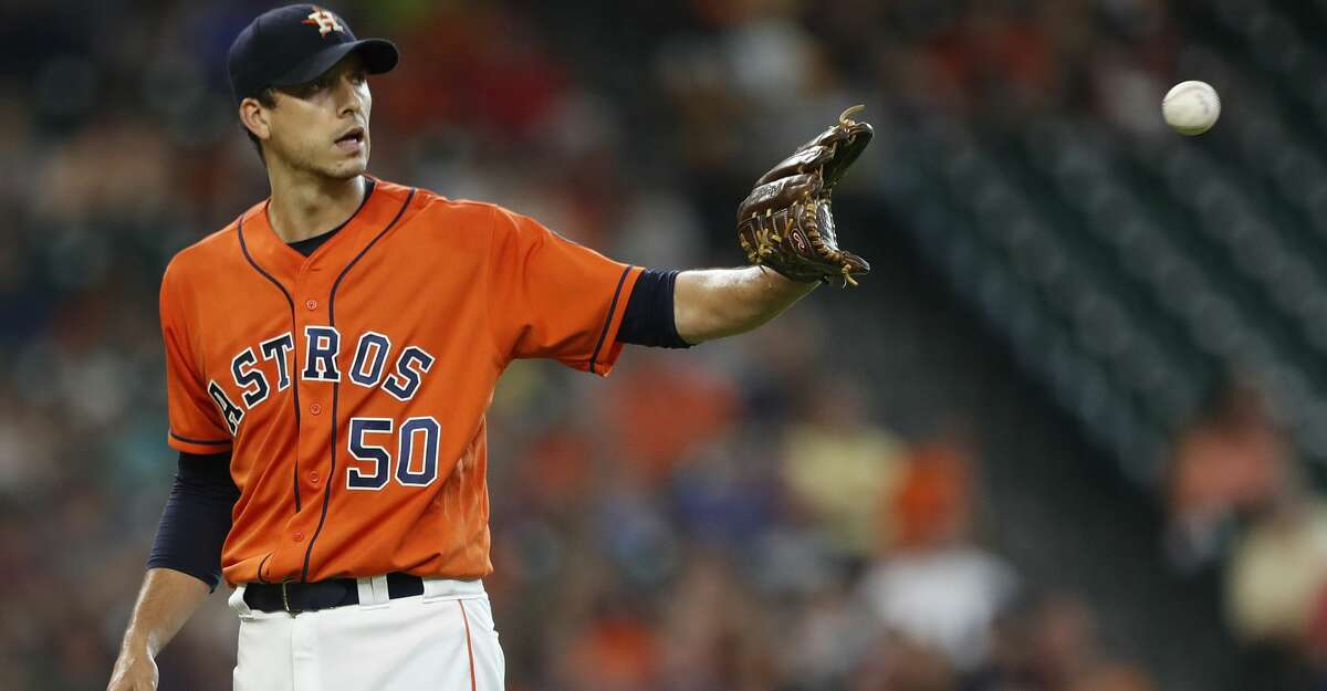 Houston Astros starting pitcher Charlie Morton (50) between pitches during the first inning of an MLB baseball game at Minute Maid Park, Friday, July, 14, 2017. ( Karen Warren / Houston Chronicle )