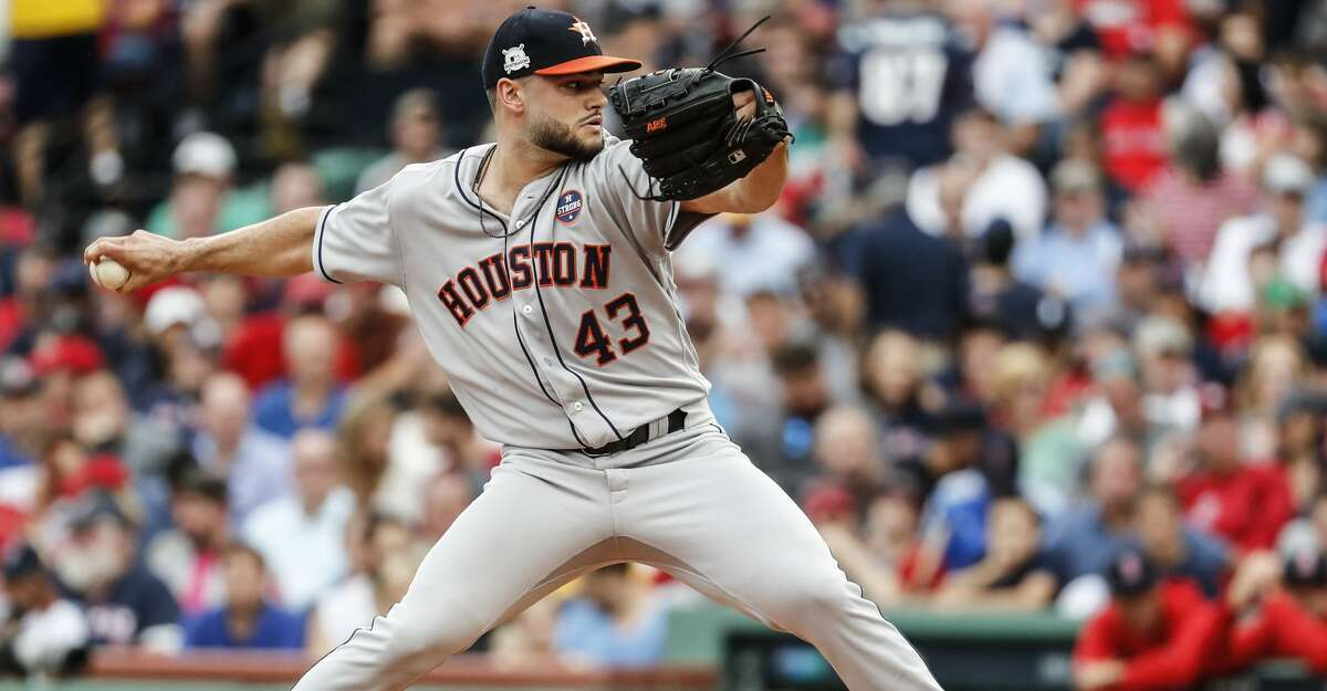 Houston Astros pitcher Lance McCullers Jr. (43) pitches in relief against the Boston Red Sox during the fourth inning of the ALDS Game 3 at Fenway Park, Sunday, Oct. 8, 2017, in Boston . ( Karen Warren / Houston Chronicle )