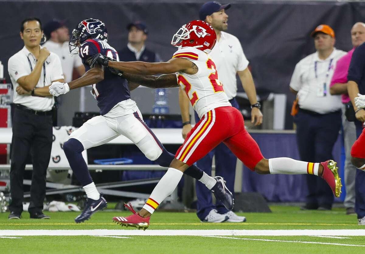 Houston Texans wide receiver Chris Thompson (14) runs during the first quarter of an NFL football game at NRG Stadium on Sunday, Oct. 8, 2017, in Houston. ( Brett Coomer / Houston Chronicle )