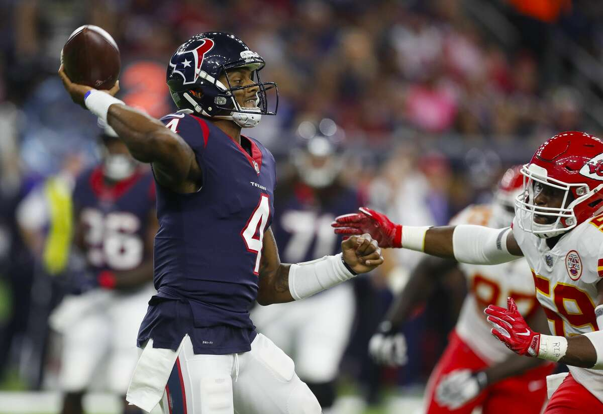 JOHN McCLAIN'S REPORT CARD AFTER LOSS TO CHIEFS Quarterback Deshaun Watson got off to a slow start because the Chiefs controlled the ball so effectively. Once he got started, Watson was on fire, throwing two touchdown pass to DeAndre Hopkins and two to Will Fuller. Grade: A