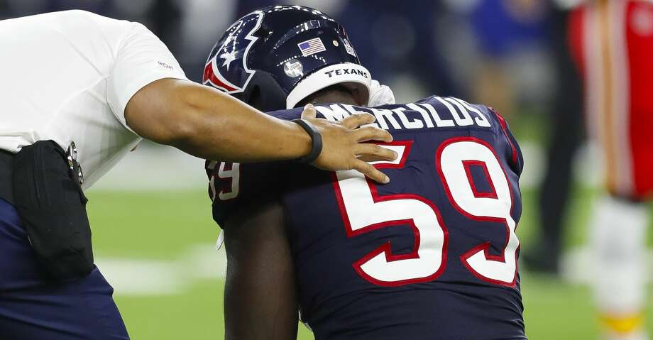 Houston Texans outside linebacker Whitney Mercilus (59) is shaken up after a play during the first quarter of an NFL football game at NRG Stadium on Sunday, Oct. 8, 2017, in Houston. ( Brett Coomer / Houston Chronicle ) Photo: Brett Coomer/Houston Chronicle