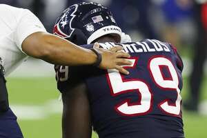 Houston Texans outside linebacker Whitney Mercilus (59) is shaken up after a play during the first quarter of an NFL football game at NRG Stadium on Sunday, Oct. 8, 2017, in Houston. ( Brett Coomer / Houston Chronicle )