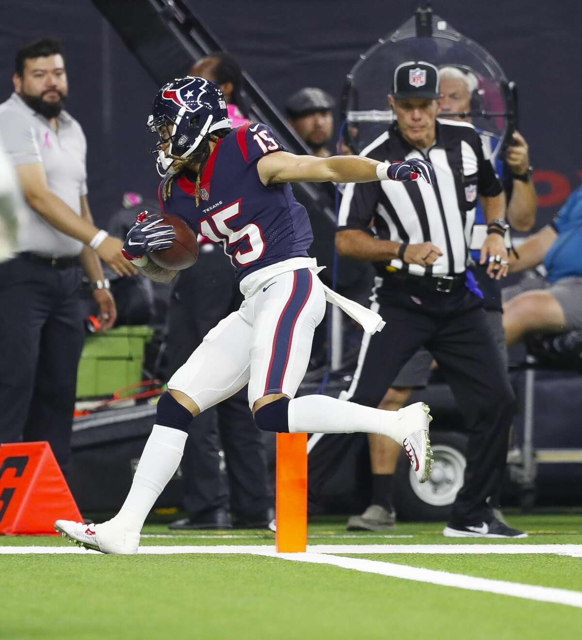 Houston Texans wide receiver Will Fuller (15) steps into the endzone for a touchdown during the third quarter of an NFL football game at NRG Stadium on Sunday, Oct. 8, 2017, in Houston. ( Brett Coomer / Houston Chronicle )