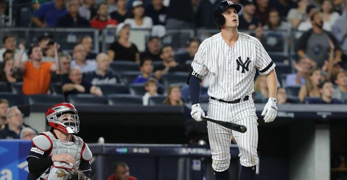 NEW YORK, NY - OCTOBER 08: Greg Bird #33 of the New York Yankees hits a solo-homerun during the seventh inning against the Cleveland Indians in game three of the American League Division Series at Yankee Stadium on October 8, 2017 in New York City. (Photo by Abbie Parr/Getty Images)