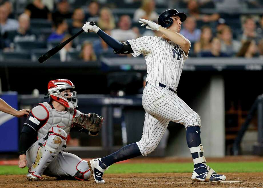 New York Yankees' Greg Bird connects for a solo home run against the Cleveland Indians during the seventh inning in Game 3 of baseball's American League Division Series, Sunday, Oct. 8, 2017, in New York. (AP Photo/Kathy Willens) ORG XMIT: NYY147 Photo: Kathy Willens / Copyright 2017 The Associated Press. All rights reserved.