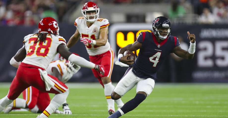 PHOTOS: Chiefs 42, Texans 34Houston Texans quarterback Deshaun Watson (4) scrambles during the second quarter of an NFL football game at NRG Stadium Sunday, Oct. 8, 2017 in Houston. ( Michael Ciaglo / Houston Chronicle)Browse through the photos to see action from the Texans' loss to the Chiefs on Sunday night. Photo: Michael Ciaglo/Houston Chronicle