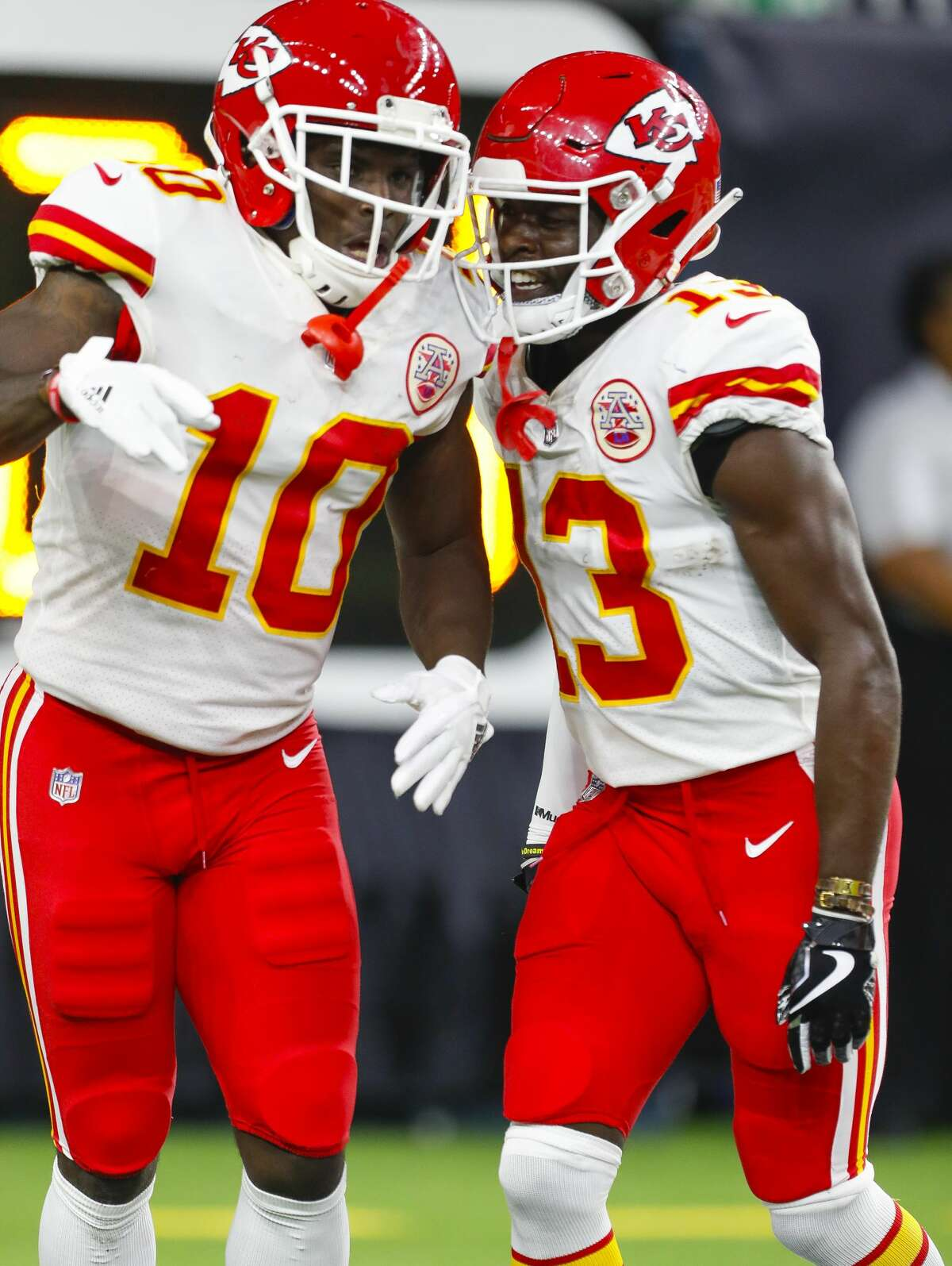 Kansas City Chiefs wide receiver Tyreek Hill (10) celebrates his 82 yard punt return for a touchdown with Kansas City Chiefs wide receiver De'Anthony Thomas (13) during the fourth quarter of an NFL football game at NRG Stadium on Sunday, Oct. 8, 2017, in Houston. ( Brett Coomer / Houston Chronicle )
