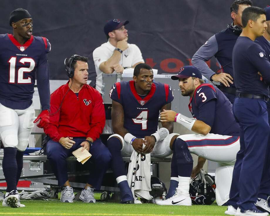 Houston Texans quarterback Deshaun Watson (4) sits on the bench with backup quarterback Tom Savage (3) during the fourth quarter of an NFL football game at NRG Stadium on Sunday, Oct. 8, 2017, in Houston. ( Brett Coomer / Houston Chronicle ) Photo: Brett Coomer/Houston Chronicle