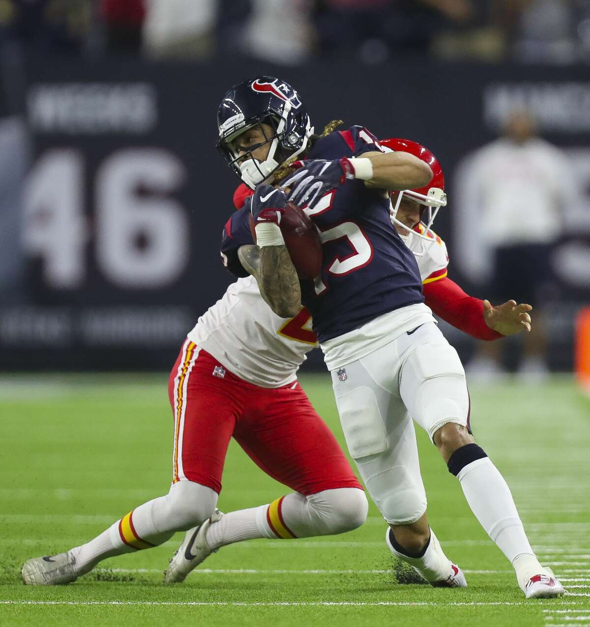 Houston Texans wide receiver Will Fuller (15) returns a punt for 49 yards during the fourth quarter of an NFL football game at NRG Stadium Sunday, Oct. 8, 2017 in Houston. ( Michael Ciaglo / Houston Chronicle)