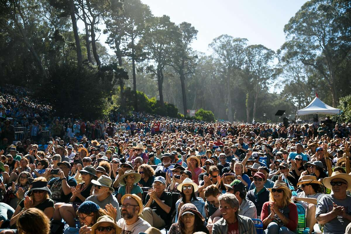 Thousands gather at Rooster Stage Stage to watch Lampedusa perform during the Hardly Strictly Bluegrass in San Francisco, Calif. Sunday, October 8, 2017.