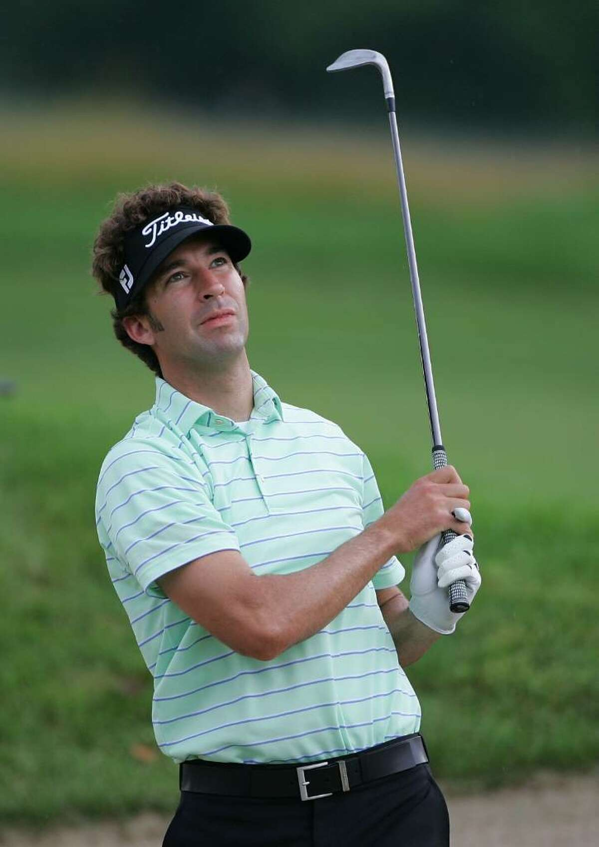 CROMWELL, CT - JUNE 24: Michael Letzig watches his shot during the first round of the Travelers Championship held at TPC River Highlands on June 24, 2010 in Cromwell, Connecticut. (Photo by Michael Cohen/Getty Images) *** Local Caption *** Michael Letzig