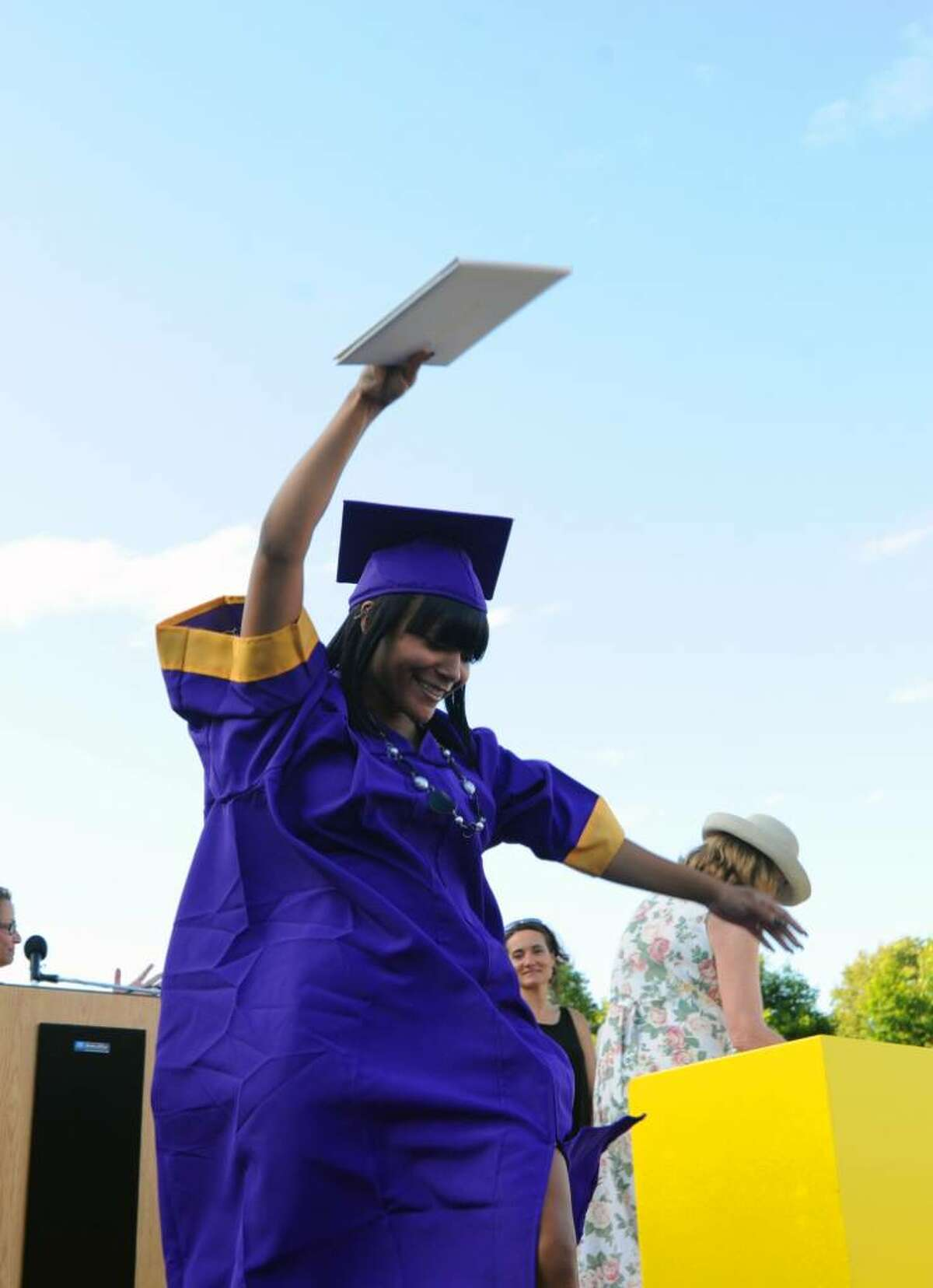 Jasmine Forbes dances across the stage after receiving her diploma during the Westhill High School Class of 2010 Commencement Thursday, June 24, 2010.