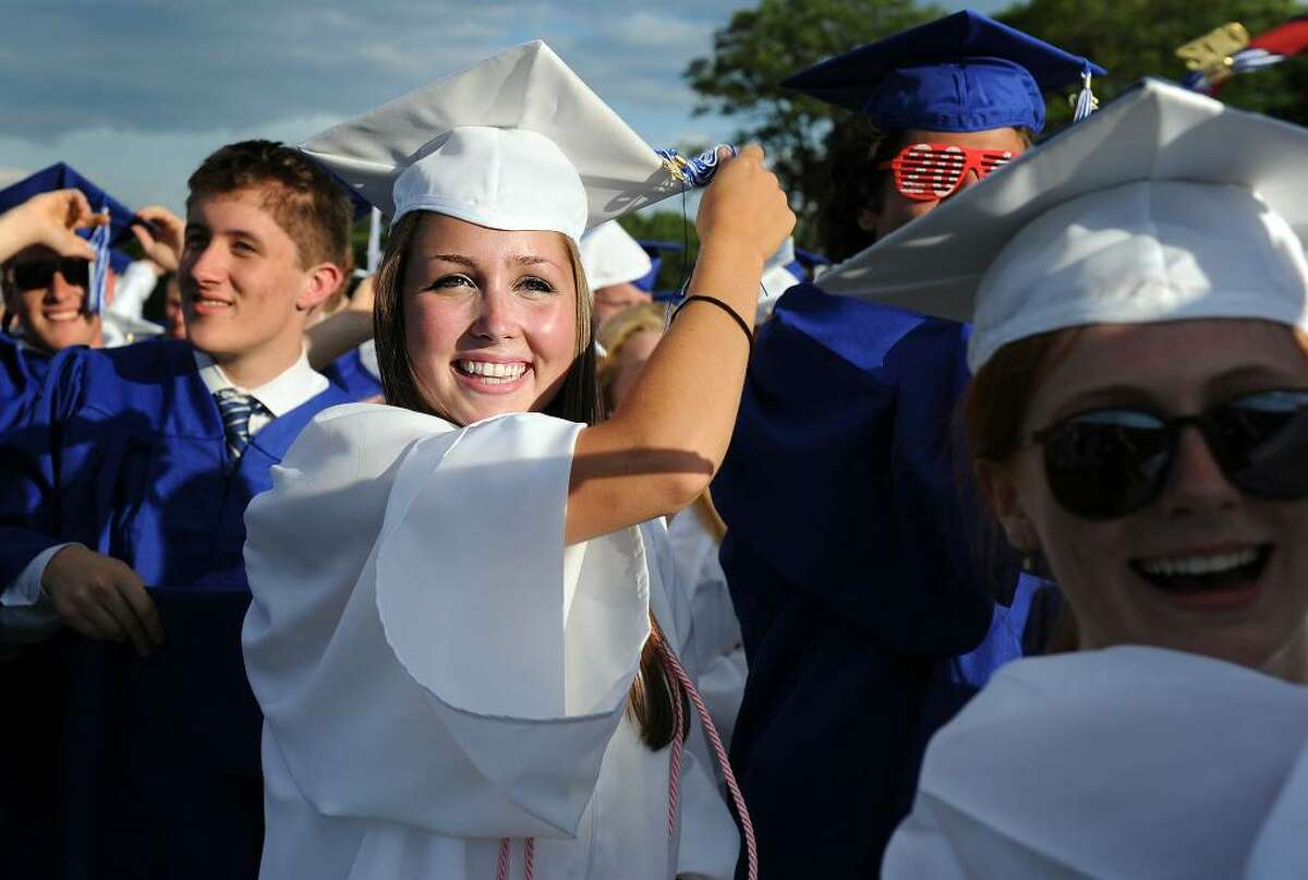 Graduate Katelin Overton moves her tassel to the left during the 2010 Fairfield Ludlowe High School commencement ceremony Thursday June 24 at the school.