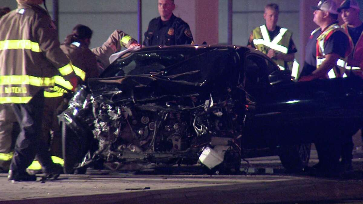 Police said a black sedan crashed into a white sedan just before 3:15 a.m. near the intersection of an Interstate 10 access road and Wurzbach Road.