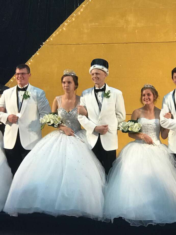 """Julia Paul and Ryan Luer were named queen and king Saturday night during the Homecoming coronation ceremony in Edwardsville High School's Lucco-Jackson Gymnasium. The theme for this year's event was, """"An Evening in Egypt."""" Photo: Bonnie Swanson • For The Intelligencer"""