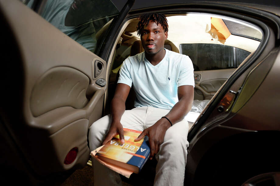 Joseph Cotton, a senior on West Orange-Stark's football team, spent two days living in his car after returning from Louisiana to find his family's home flooded from Tropical Storm Harvey. Cotton balances football, working and school, including college classes. Photo taken Wednesday 10/4/17 Ryan Pelham/The Enterprise Photo: Ryan Pelham / ©2017 The Beaumont Enterprise/Ryan Pelham