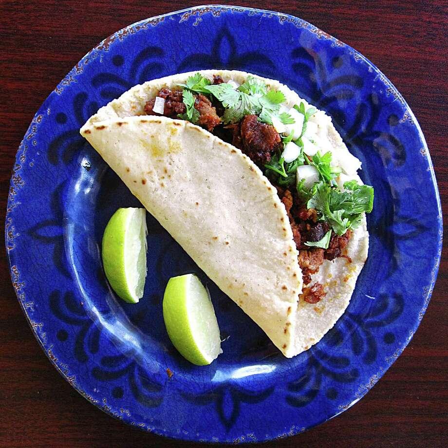 Cabrito taco on a handmade corn tortilla from La Barca de Jalisco. Photo: Mike Sutter /San Antonio Express-News