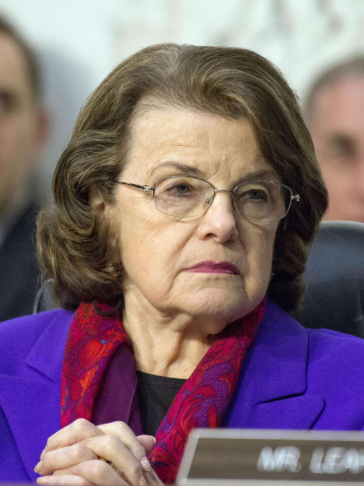 Sen. Dianne Feinstein (D-Calif.), as ranking member of the Senate Judiciary Committee, listens as Neil Gorsuch testifies before the committee on his nomination as Associate Justice of the Supreme Court, on Capitol Hill on March 22, 2017, in Washington, D.C. (Ron Sachs/CNP/Sipa USA/TNS)