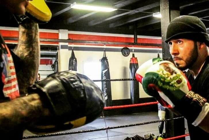 Eric Morante works out at Main Boxing Gym in Houston.