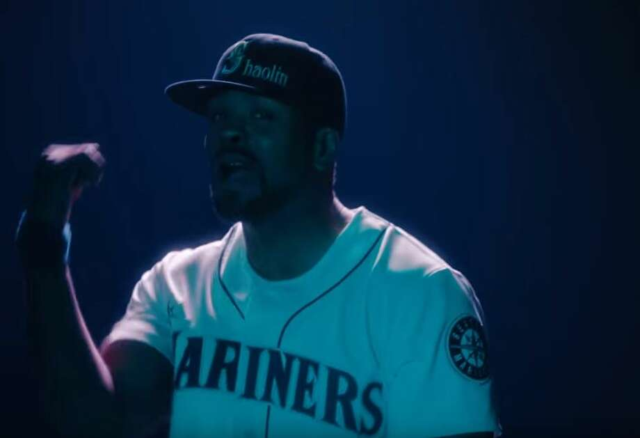 """Rapper Method Man sports a Mariners jersey and hat in the new video """"People Say"""" from Wu-Tang Clan. Photo: Screenshot/YouTube"""