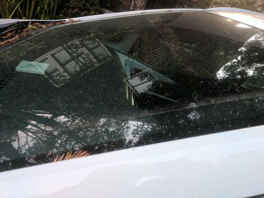 Ash on the windshield of a car in San Francisco on Monday, Oct. 9. More cities in the East Bay were reporting seeing ash on Wednesday afternoon. Photo: Amy Graff