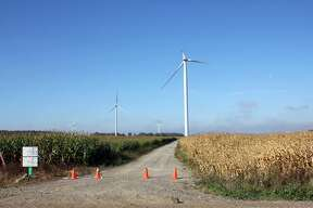A blade broke Saturday evening on this DTE Energy wind turbine in the company's Sigel Wind Park in Sigel Township.