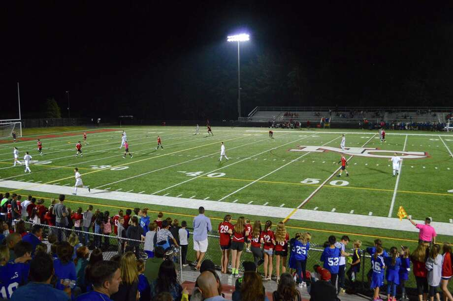 Hundreds turned out for the Coaches Classic soccer game at New Canaan High School, Friday, Oct. 6, 2017, in New Canaan, Conn. Photo: Jarret Liotta / For Hearst Connecticut Media / New Canaan News Freelance