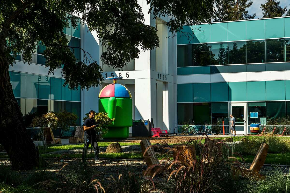 FILE � The Google campus in Mountain View, Calif., Sept. 12, 2017. Facebook, Google, and Amazon are coming under increasing pressure by regulators concerned about their growing power. (Christie Hemm Klolk/The New York Times)