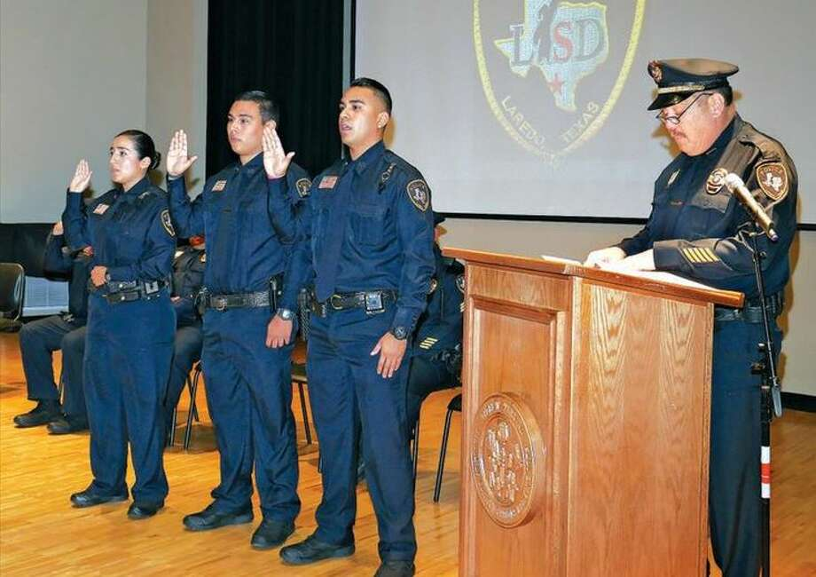 Fellow law enforcement officers, students, family and friends gathered at VMT's recital hall to witness the swearing-in ceremony for officers Jazmine Villarreal, Armando Cadena and Daniel Magallanes. Photo: Courtesy