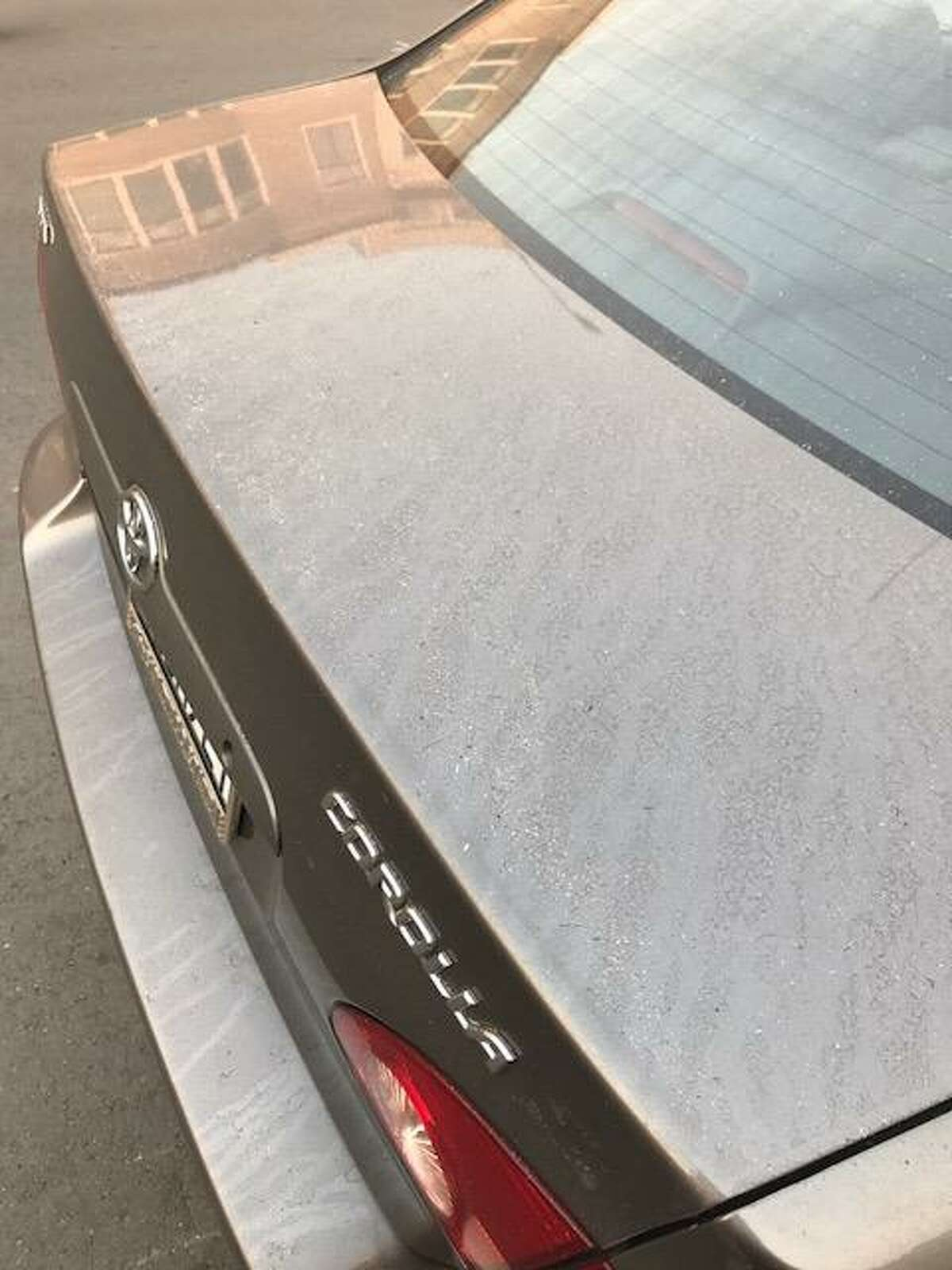 Shannon Lambrechts shares a photograph of ash covering her car, taken in the Marina district in San Francisco on Monday morning.
