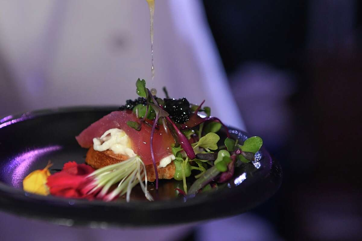 Wild caught salmon, burrata and caviar from Sud Italila at the 2017 Epicurean Project held Oct. 4 sponsored by Martin Preferred Foods to benefit Recipe for Success.