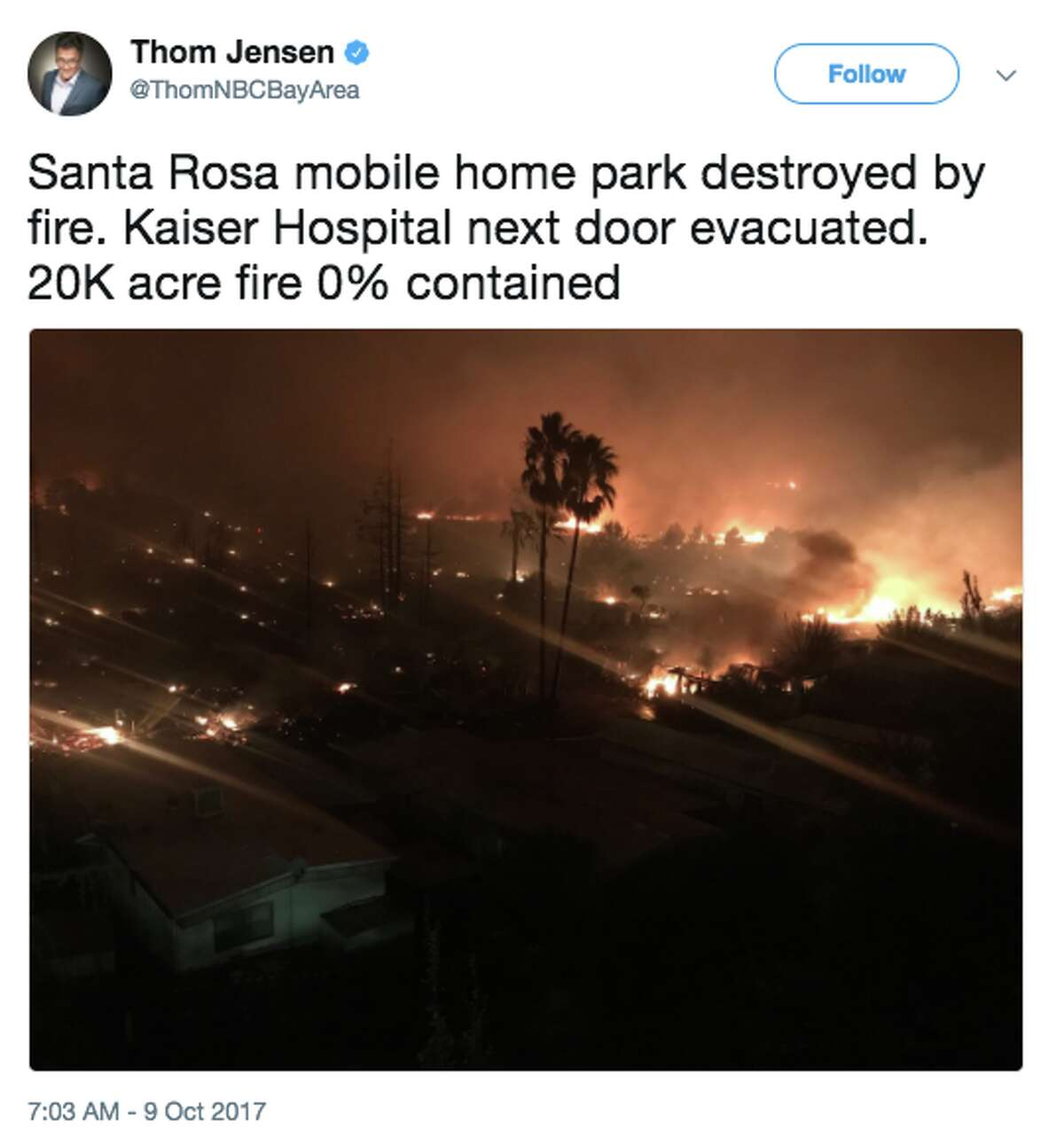 Kaiser Permanente Santa Rosa Medical Center was evacuated early Monday due to massive wildfires.