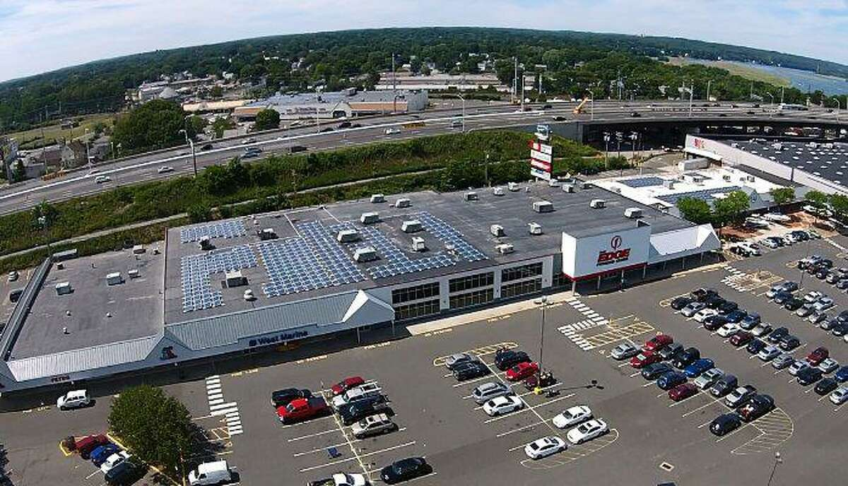 Urstadt Biddle Properties plans a self-storage facility in Stratford that would total 120,000 square feet of space, adjacent to its Dock Shopping Center complex (pictured) that is home to a BJs Wholesale Club. (Photo via IPPSolar)