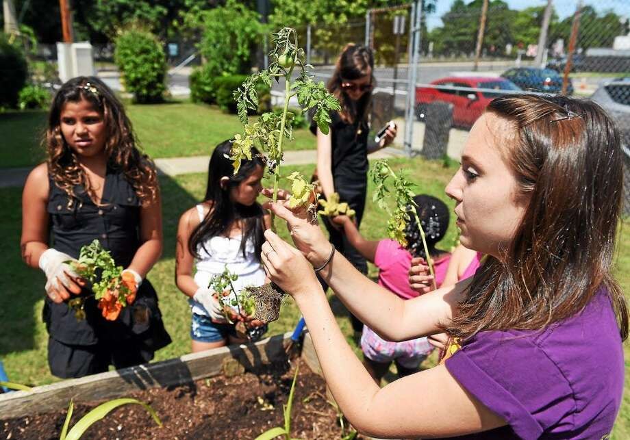 Tiffany Torres, a service member from Common Grounds Schools' Food Corps, helps children in the Casa Otonal summer program plant a community garden. Photo: File Photo