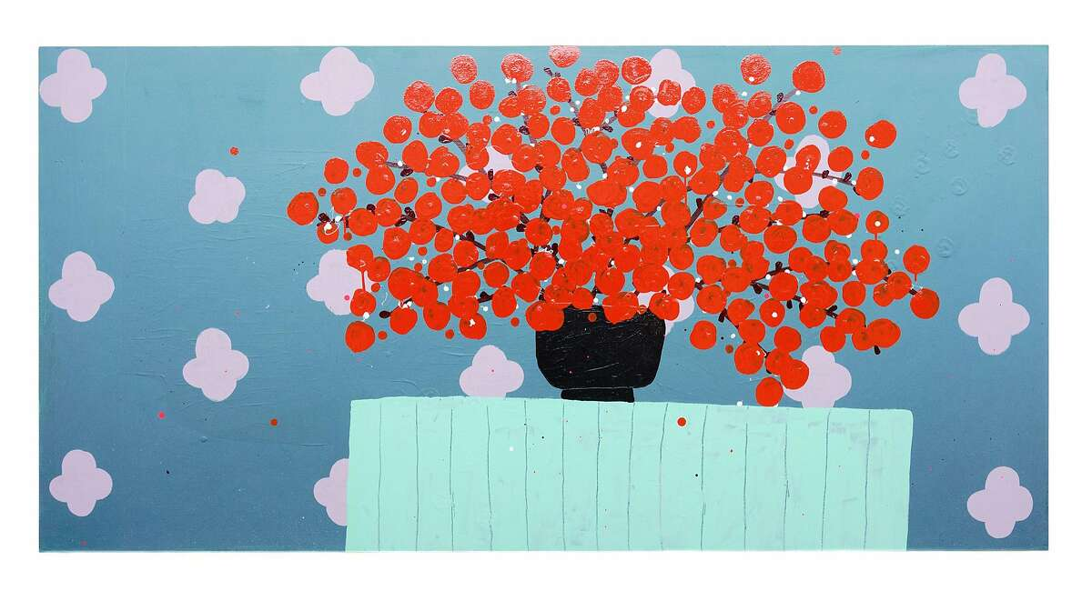 """This untitled painting by Tucker Nichols is one of the vital images on view in his """"Patio Music"""" show at Gallery 16."""