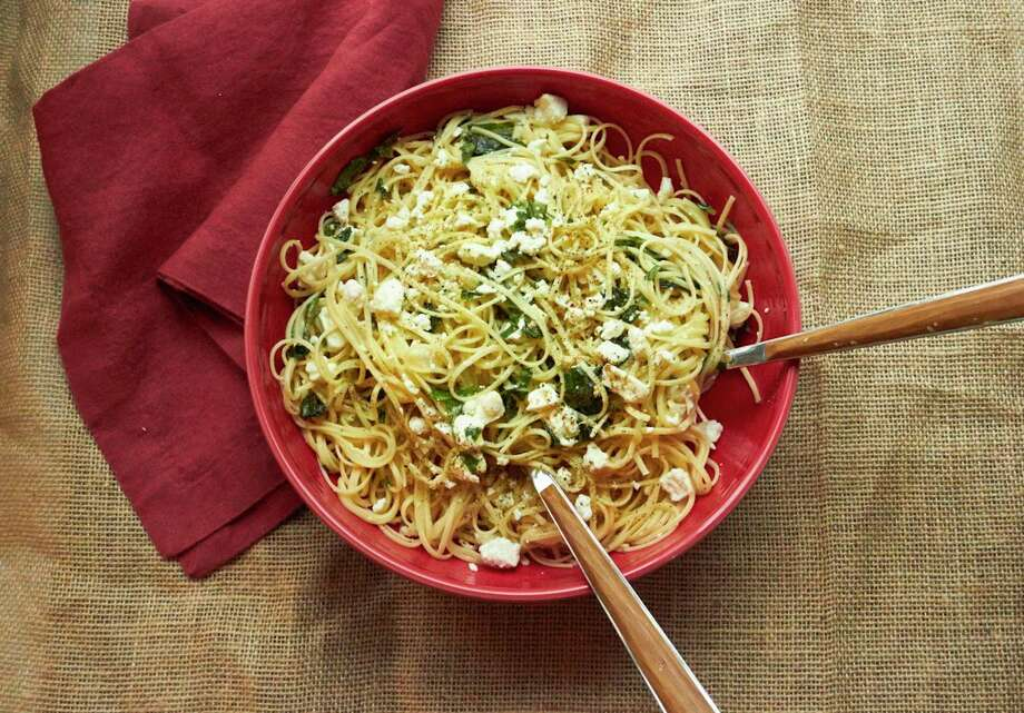 This weeknight meal - Linguine with Lemon, Feta and Basil - can come together in less than 30 minutes. Photo: Mia, UGC / Mia via Katie Workman