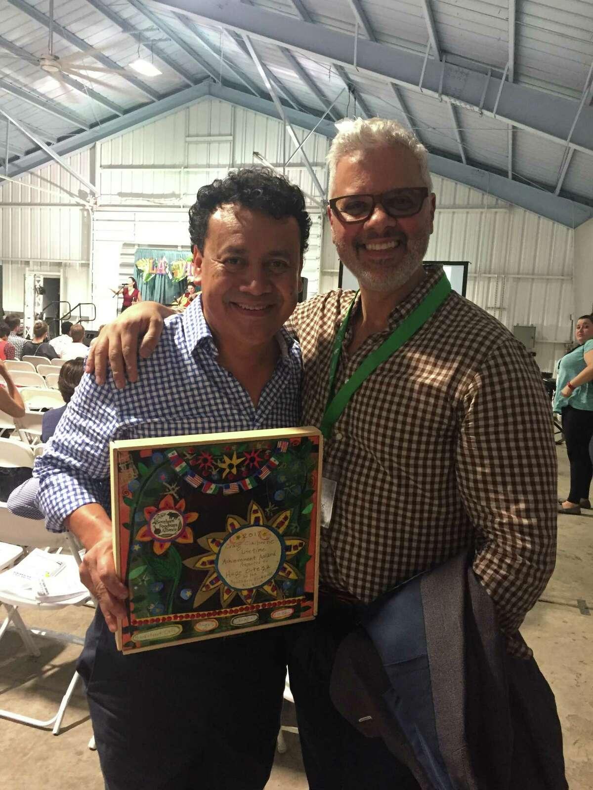 Chef Hugo Ortega with Washington Post food and travel editor Joe Yonan at the 2017 Southern Foodways Alliance symposium. The SFA presented Ortega with the 2017 Craig Claiborne Lifetime Achievement Award.
