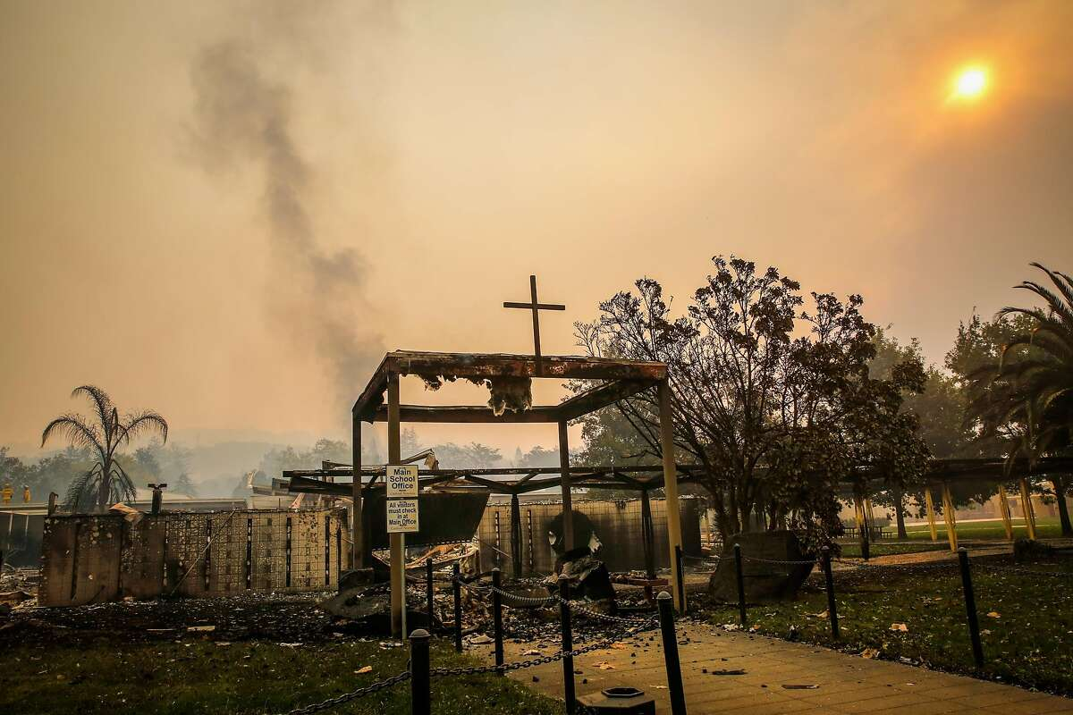 Cardinal Newman High School is seen after some of the school burned during the Tubbs Fire in Santa Rosa, Calif., on Monday, Oct. 9, 2017.