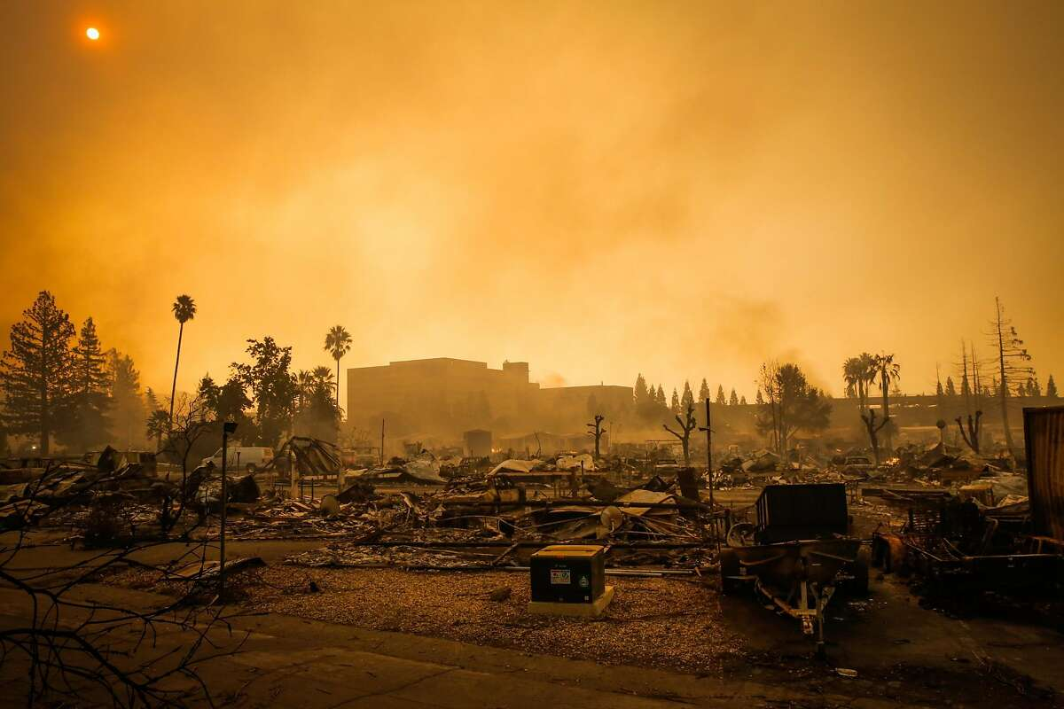 A view of Journey's End mobile home after the Tubbs fire tore through the property on Mendocino Avenue in Santa Rosa, Calif., on Monday, Oct. 9, 2017.