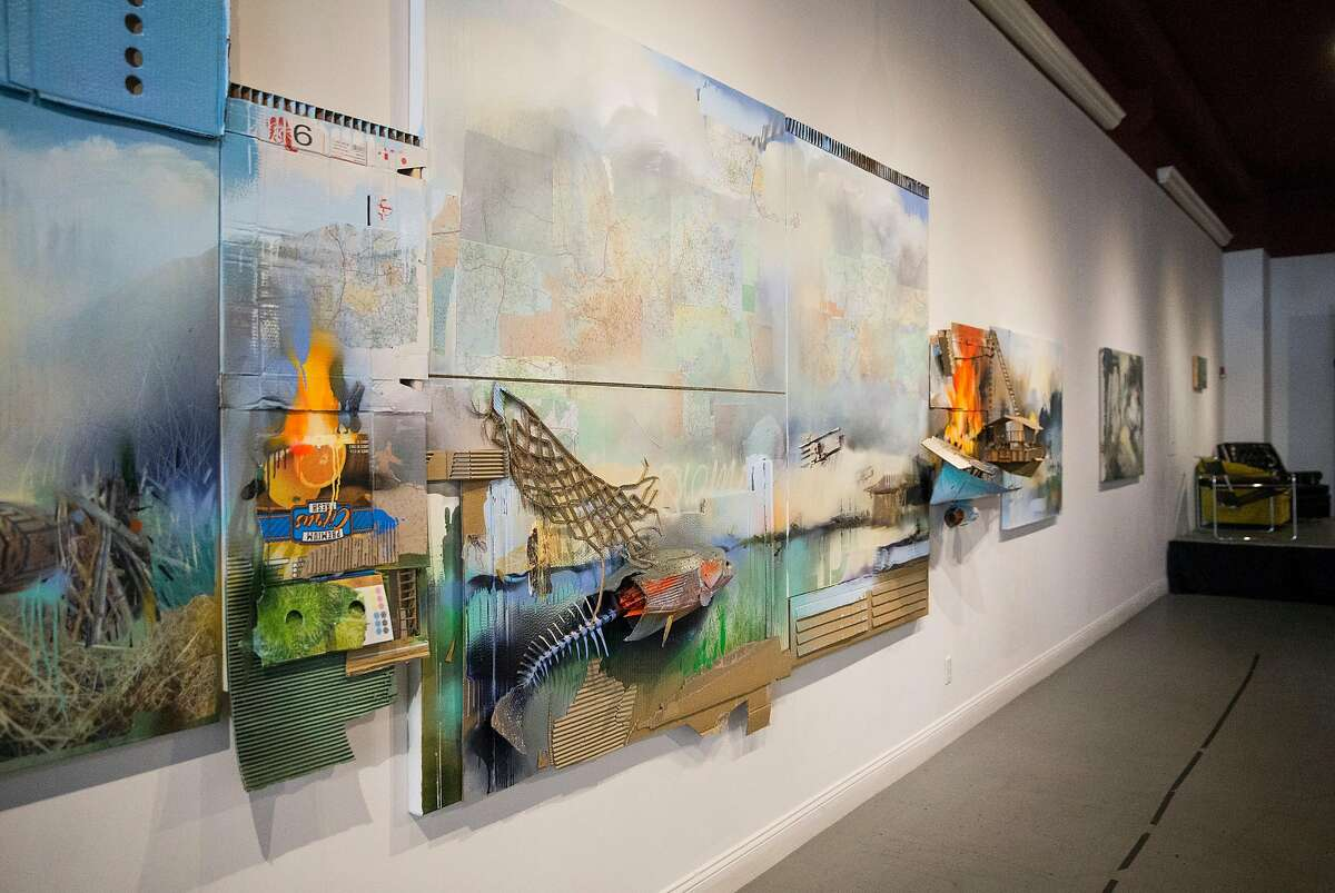 Artwork by Jeff Snell is seen on display as part of a group exhibit called Imaginary Landscapes at Artiszen Cultural Arts Center in Vallejo, Calif., on Saturday, September 30, 2017.