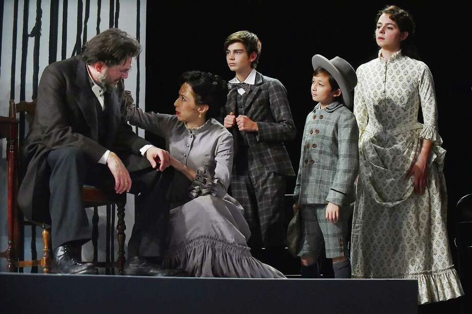 Reg Rogers as Dr. Thomas Stockmann, Joey Parsons as Mrs. Catherine Stockmann, Atticus Burrello as Elif Stockmann, James Jisoo Maroney as Morten Stockmann and Stephanie Machado as Petra Stockmann at a dress rehearsal. Photo: Catherine Avalone / Hearst Connecticut Media / New Haven Register