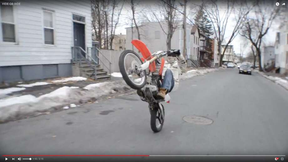 """Scene from YouTube video called """"Hide or Ride"""" filmed on the streets of Albany. Photo: YouTube"""
